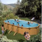 GRE Сглобяем басейн с метални стени Pacific имитация на дърво овален 730x375x120см.