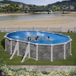 GRE Сглобяем басейн с метални стени Cerdeña имитация на камък овален 730x375x120см.