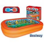 Bestway детски надуваем басейн с 3D илюстрации и очила за 3D правоъгълен 262х175х51см