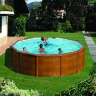 GRE Сглобяем басейн с метални стени Pacific имитация на дърво кръгъл Ø460x120см.