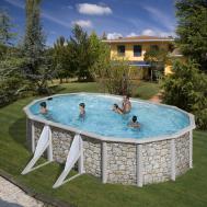 GRE Сглобяем басейн с метални стени Corcega имитация на камък овален 610x375x132см.