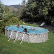 GRE Сглобяем басейн с метални стени Corcega имитация на камък овален 730x375x132см.