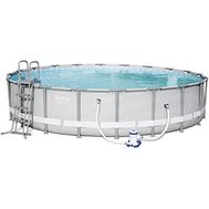 Bestway сглобяем басейн с метална рамка Power Steel бял кръгъл ф610см/122см
