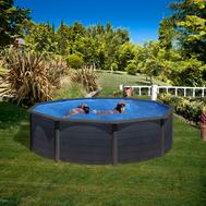 Gre сглобяем басейн с метални стени Kea имитация графит кръгъл ф460xh120см