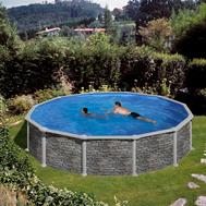 GRE сглобяем басейн с метални стени Cerdeña имитация на камък овален ф460смxh120см