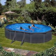 Gre сглобяем басейн с метални стени Kea имитация графит овал 500x300xh120см