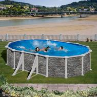 GRE сглобяем басейн с метални стени Cerdeña имитация на камък овален 500x300h120см