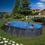Gre сглобяем басейн с метални стени Kea имитация графит овал 610x375xh120см