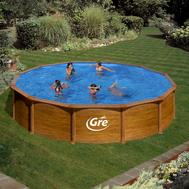 GRE Сглобяем басейн с метални стена Mauritius имитация на дърво кръгъл ф550хh132см
