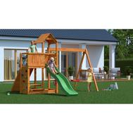Fungoo FLOPPI дървена детска площадка с 2 люлки, пързалка и рампа