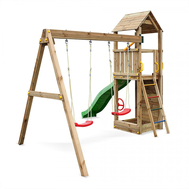 Fungoo FLAPPI дървено детска площадка с пързалка и 2 люлки