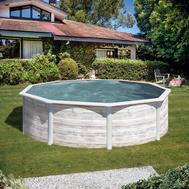 GRE Сглобяем басейн с метални стени Finlandia имитация на северно дърво кръгъл Ø460x120см.