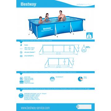 Bestway басейн с тръбна конструкция Splash Frame правоъгълен 300х201х66 см.