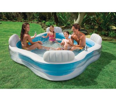 Intex Детски надуваем басейн Family Lounger със седалки 229х229х66 см.