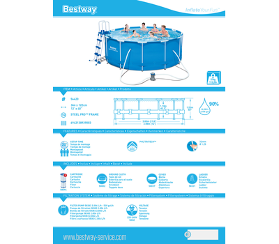 Bestway басейн с тръбна конструкция Steel Pro кръгъл Ø366х122см.