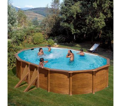 GRE Сглобяем басейн с метални стени Pacific имитация на дърво овален 610x375x120см.