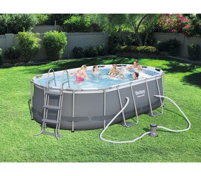 Bestway басейн с тръбна конструкция Power Steel овален 424x250x100см