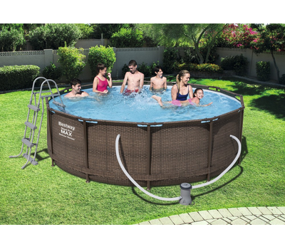 Bestway басейн с тръбна конструкция Rattan Power Steel кръгъл Ø366x100см.