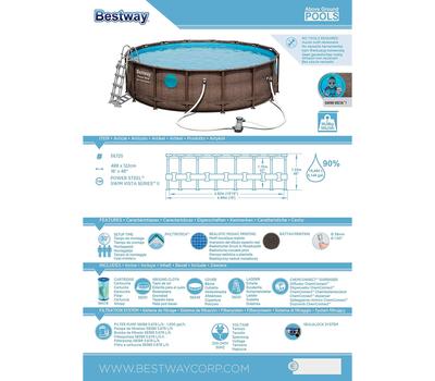 Bestway басейн Power Steel Delux кръгъл имитация ратан ф488см/122см