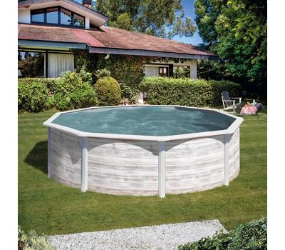 Gre сглобяем басейн с метални стени Finlandia имитация на северно дърво Ø350х120см